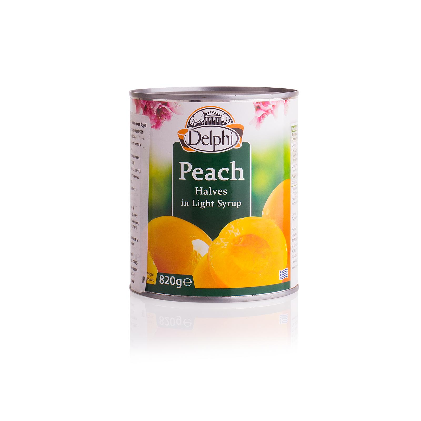 Половинки персика в сиропе DELPHI 820г