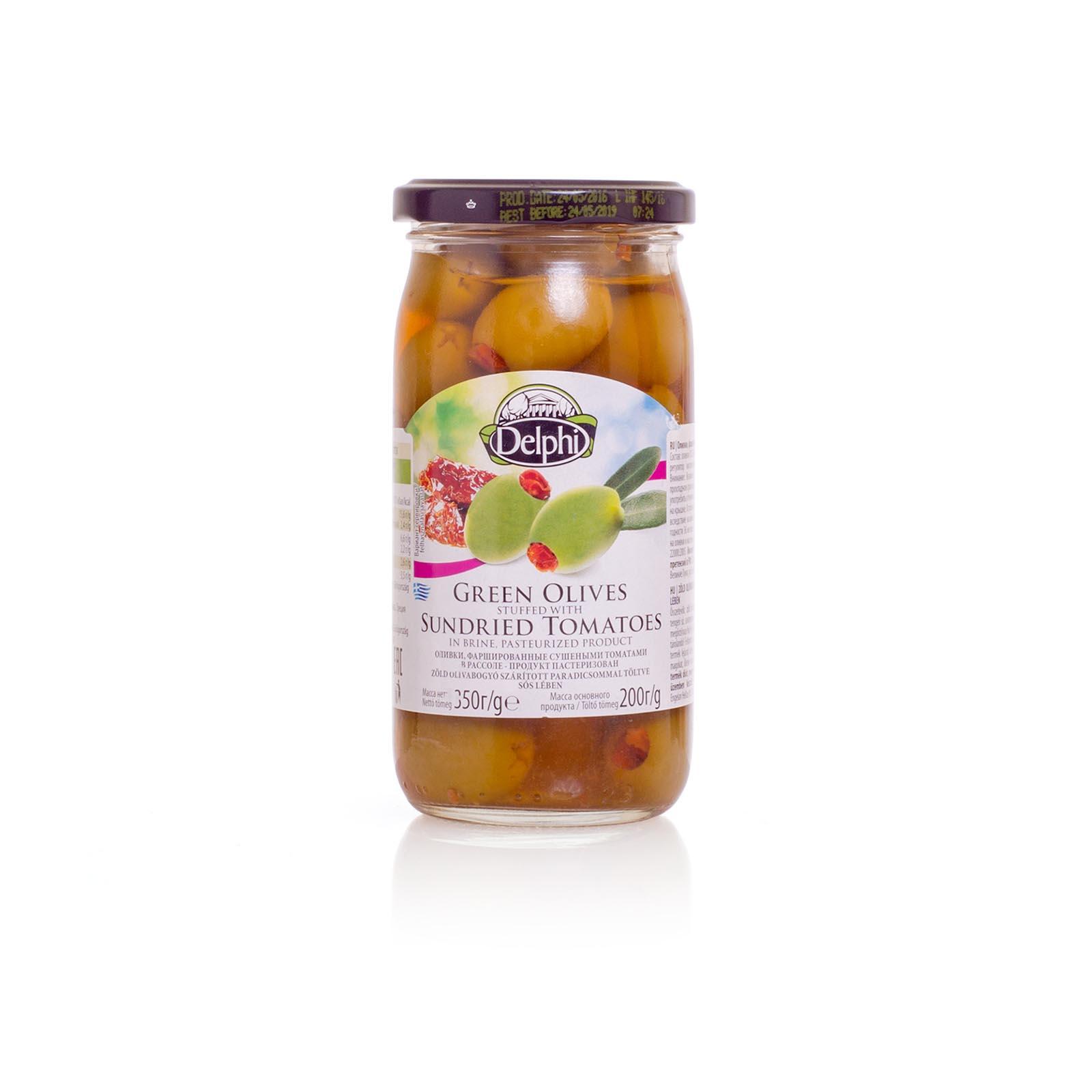 Оливки, фаршированные сушеными томатами, DELPHI 350г