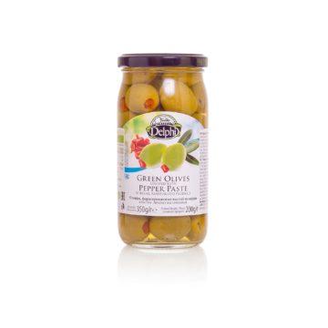 Оливки, фаршированные пастой из перца, DELPHI 350г
