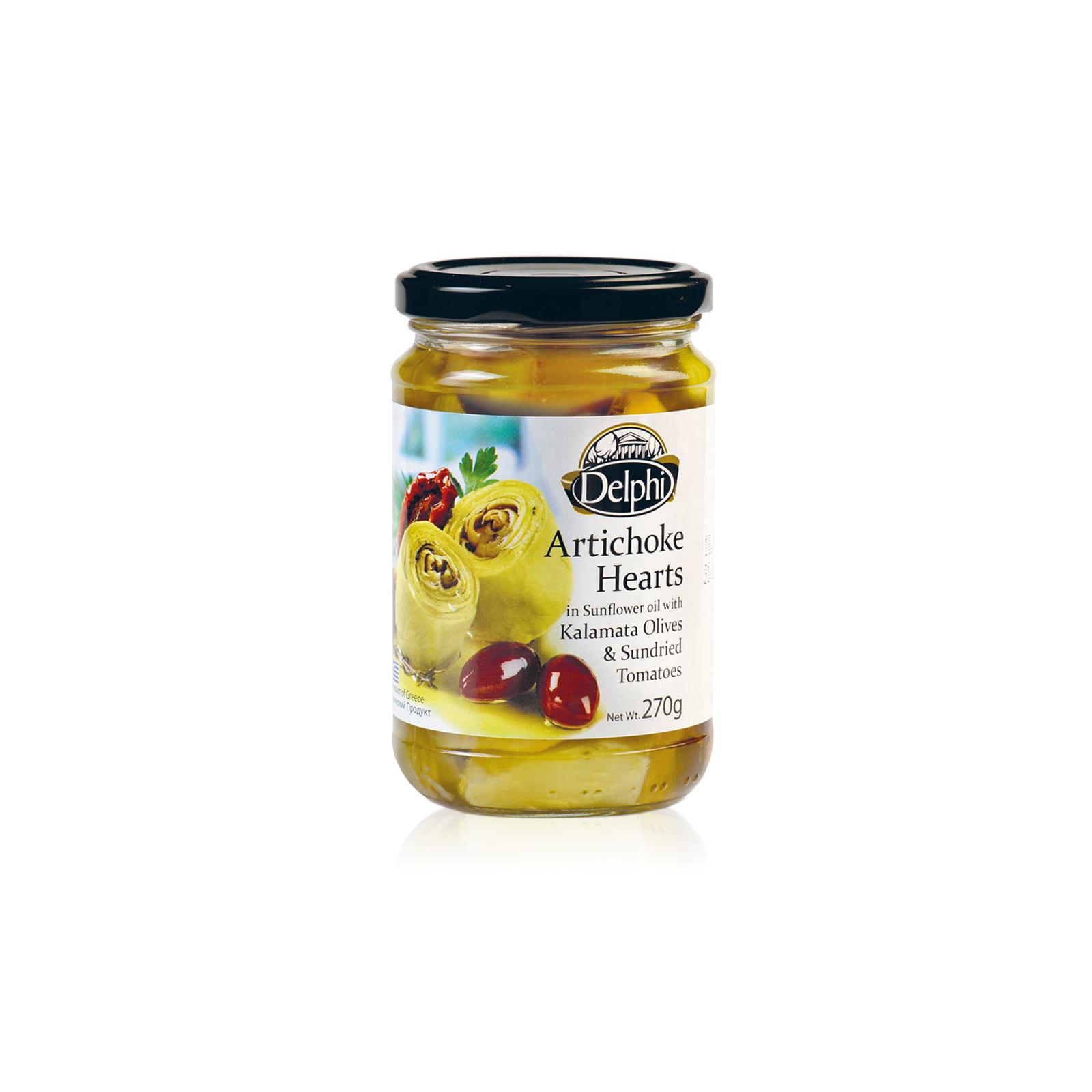 Артишоки в подсолнечном масле с сушеными томатами и маслинами Каламата DELPHI 270г
