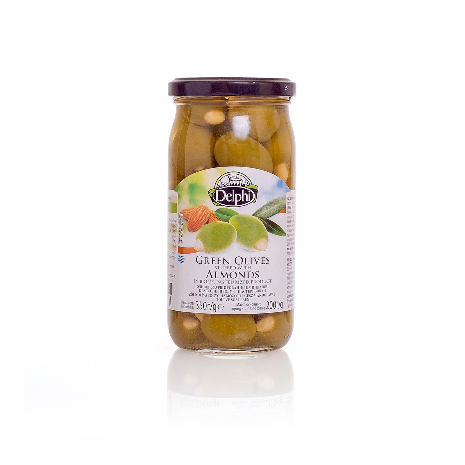 Оливки, фаршированные миндалем, DELPHI 350г