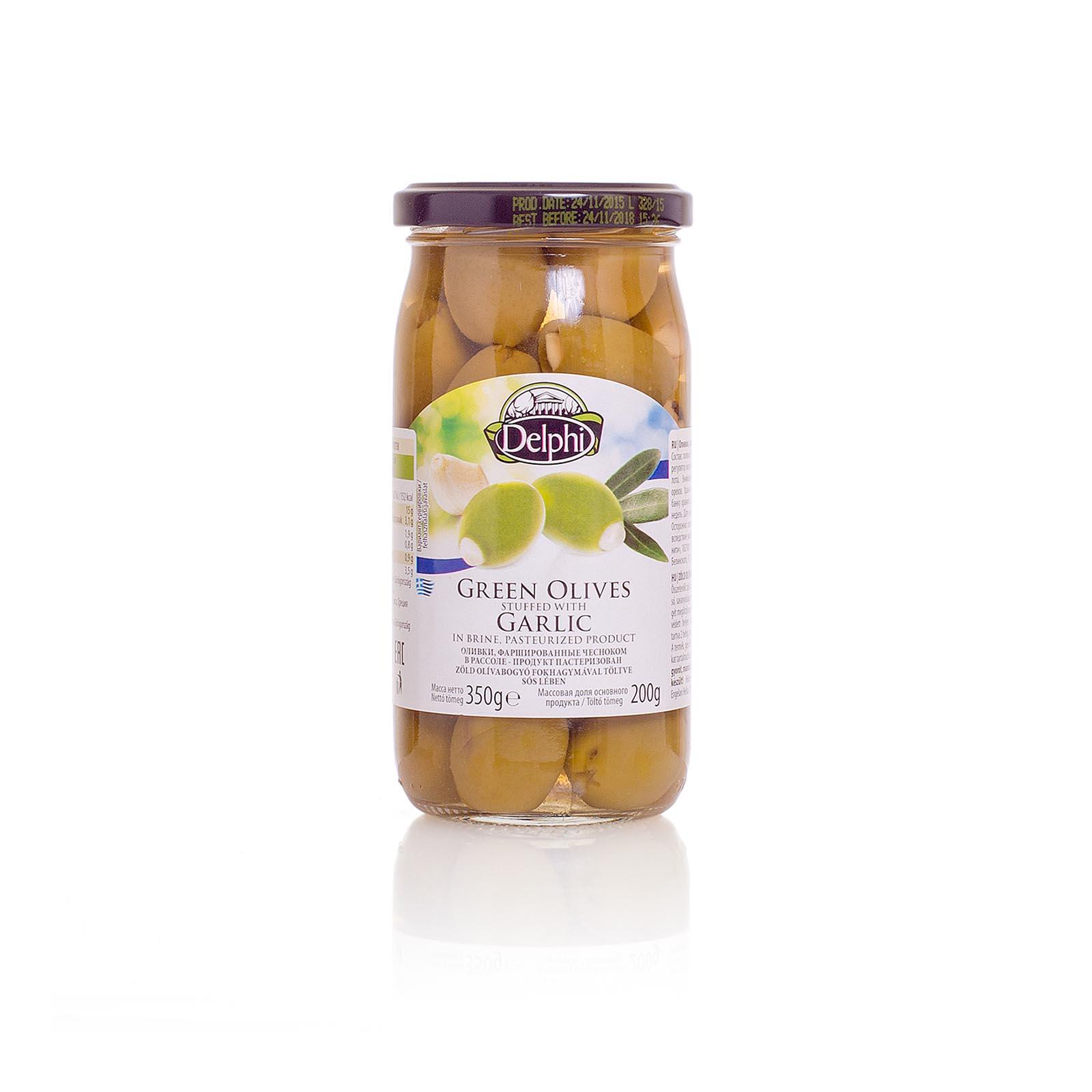 Оливки, фаршированные чесноком, DELPHI 350г