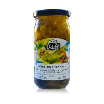 42.0045 Средиземноморский микс с оливками, грибами и артишоками в масле DELPHI 330 г